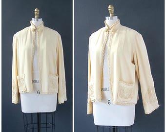 Vintage 30s Wool Jacket   Embroidered Jacket   Scallop Trim   Art Deco, Historical, Hollywood Glamour   Size Medium
