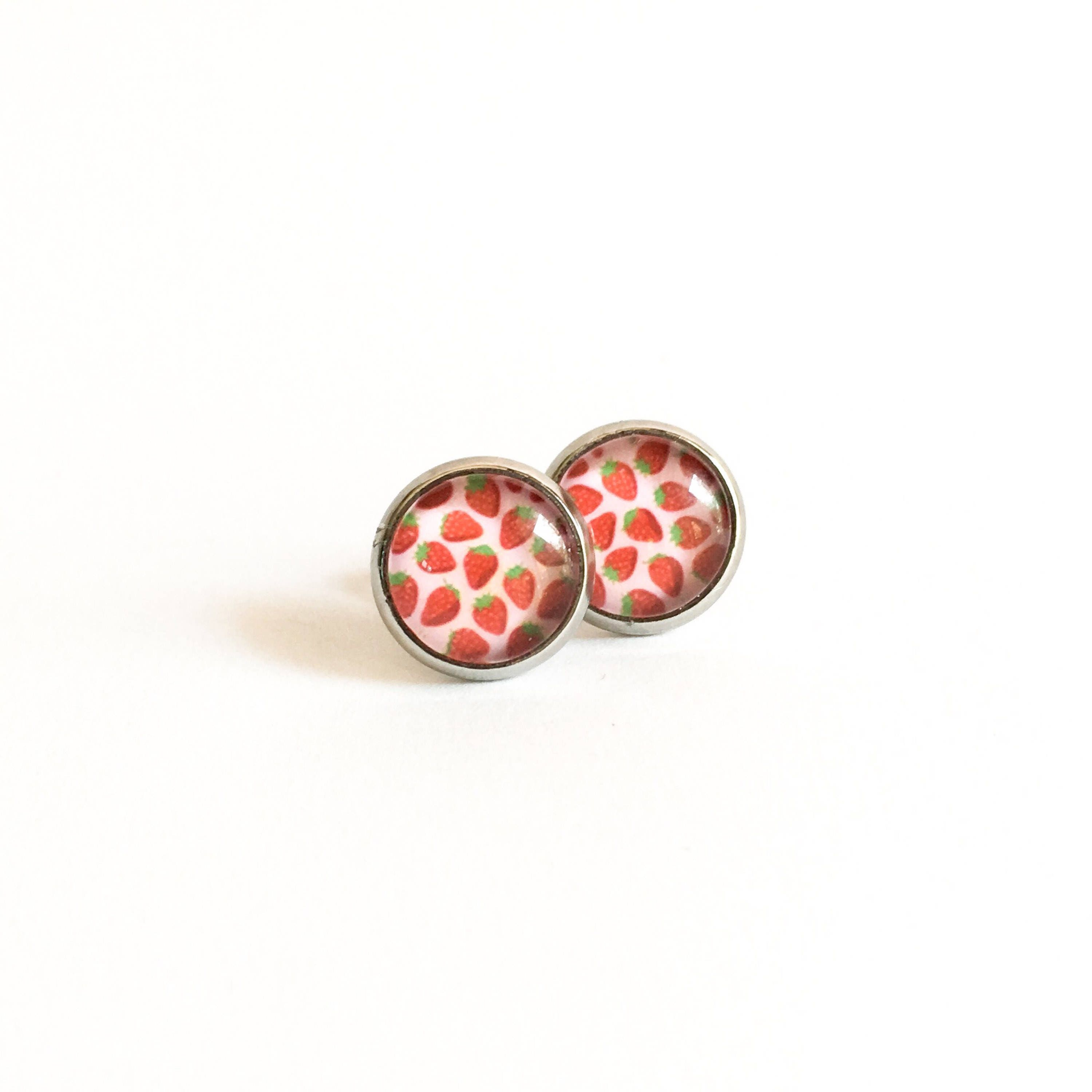 strawberry small stud cabochon steel earring earrings stainless fullxfull p il studs round girl
