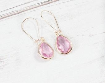 Rose Gold Pink Earrings, Bridesmaid Earrings, Minimalist Earrings, Stone Earrings, Dainty Earrings,Bridesmaid jewelry,Gifts under 25,Wedding