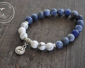 Bracelet mala - Yin - Yang - Pierres naturelles - Bijou zen - Coco Matcha