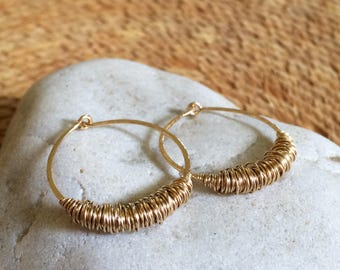 Small Gold Hammered Hoops Sleeper Earrings Huggie Hoops 14k Gold Fill Hoops Texture Hoops Wire Jewelry Rustic Hoops