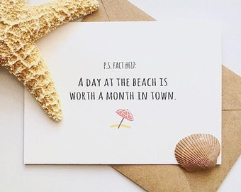 A Day at the Beach -- PS Facts Greeting Card -- Single Card with Kraft Envelope
