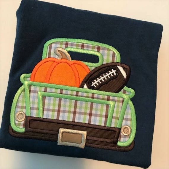 SALE Boys Fall Football Truck Appliqued Long Sleeve Shirt (only size 2T, 4T, and 6 available)