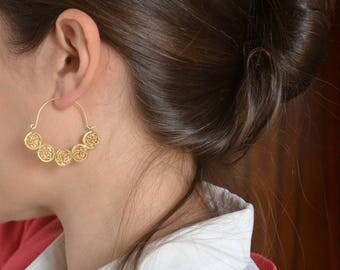 24k gold plated sterling silver hoop earrings