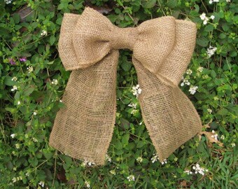 Burlap Pew Bow, Burlap Bow, Burlap Wreath Bow, Burlap Wedding Decor, Burlap Swag Bow, Rustic Wedding Aisle Decor, Burlap Chair Back Bow
