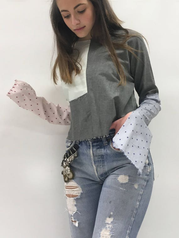 Patchwork Shirt Blouse Sample Long Sleeves LOLA DARLING Double Vintage Fabric Gray Silk Shantung Limited Edition Made in Italy