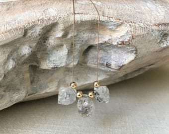 Rough Herkimer Diamond Silk Cord Necklace in Gold or Silver