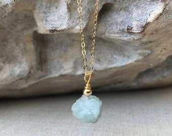 Aquamarine Necklace, Aquamarine Necklace in Gold or Silver, Gold or Silver Aquamarine Necklace, Gold or Silver Raw Aquamarine Necklace