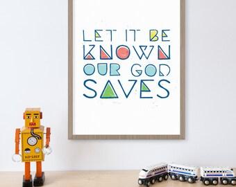 Our God Saves, Christian Song Lyrics, Religious Gifts, Spiritual Art, Lyrics Print, Christian Wall Art, Hand Lettering, Worship Central