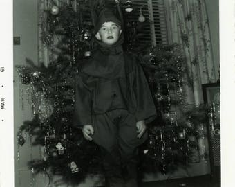 "1961 Vintage Snapshot ""The Christmas Goblin"" Merry Christmas Spooky Odd Weird Costume Creepy Child Boy Black & White Photo Vernacular - 76"