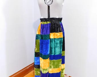 Vintage Velvet Patchwork Maxi Skirt by Mr. Hank