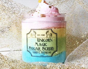 Unicorn Sugar scrub SALE! - Valentine's day gift - Unicorn Rainbow  - whipped soap  - rainbow colors fruity scented - Body Polish