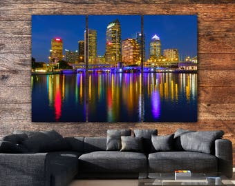 Tampa Skyline Canvas  Art, Large, Tampa Canvas, Tampa Art, Tampa Photo, Large Wall Art, Tampa Wall Art, Tampa Sunset