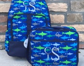 Shark Backpack and Lunchbox with FREE Monogramming, Back to School, Boys Backpack and Lunchbox Set