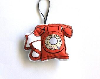 Telephone  Ornament: Orange Vintage telephone