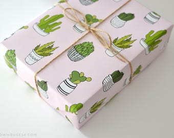 Succulent Gift Wrap - Cactus Wrapping Paper - Gift Wrap Sheets