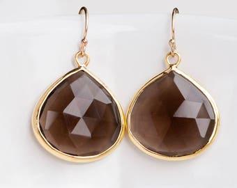 Smokey Quartz Earrings Gold, Boho Earrings Dangle, Brown Stone Earrings, Simple Stone Earrings, Christmas Gifts for Mom, Neutral Gemstones
