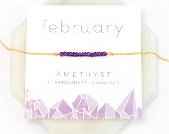 February Birthstone Necklace, Amethyst Necklace Gold, Gift for Best Friend, Inspirational Gift, Yoga Jewelry, Rose Gold, Healing Stone Gift