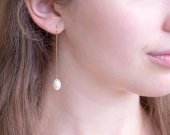 Freshwater Pearl Drop Threader Earrings, 14k Gold Filled, Bridesmaid Pearl Earrings, Long Pearl Earrings, Pearl Dangle, Gift for Girlfriend