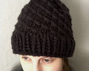 Chunky Textured Knit Beanie, Unisex, Removable Ball, Black with Black/Green Ball, Wool Hat