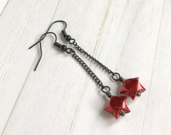 Origami Lucky Star Chain Earrings // Red and Black