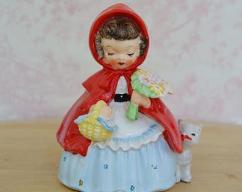 Vintage 1956 Little Red Riding Hood Figurine with Big Bad Wolf by Napco