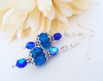 Victorian Earrings, Sapphire Blue Earrings Boho Earrings Dangle, Inspirational Jewelry Gift for Her, Mothers Day Gift for Aunt, Mom Gift Mom