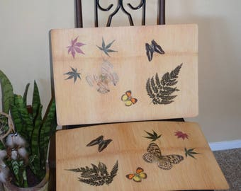 Woodland Creatures - Set of 6 Wooden Placemats with Butterflies, Ferns and Leaves Laminated
