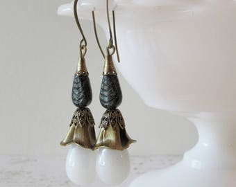 Milk Glass Tulip Dangles // Brass & Vintage Glass  Earrings