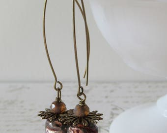 Modern Raku Dangles // Metallic Copper & Brass Long Earrings