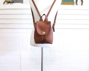 Vintage Coach Backpack // Leather Drawstring Daypack British Tan 9960 // Coach Duffle Backpack Purse