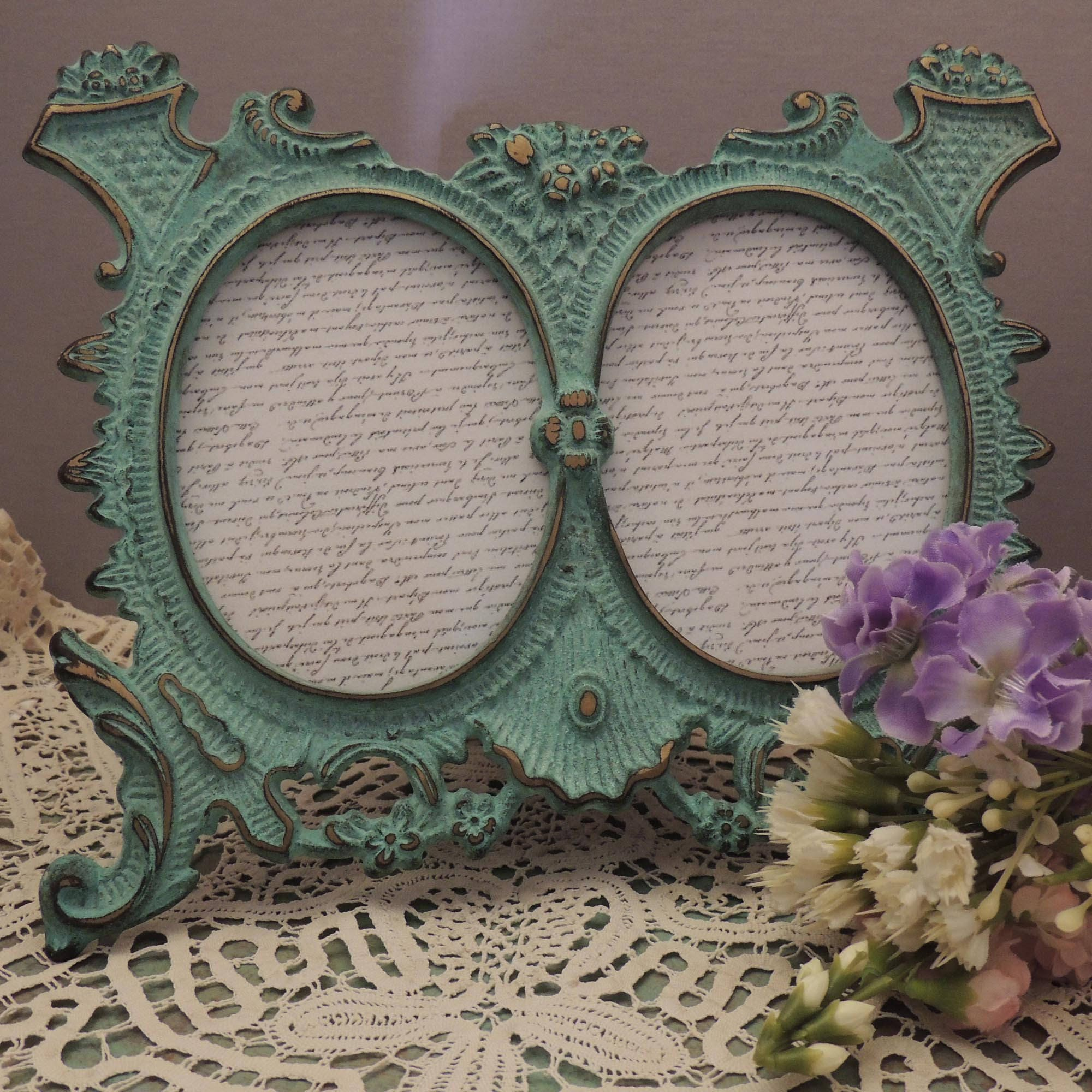 3x4 double oval green picture frame green verdigris style oval sold by chanteclairinteriors jeuxipadfo Image collections