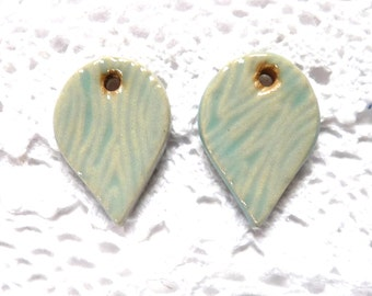 Ceramic earring charms ~ handmade light blue teardrop charms, supplies for jewellery making, jewelry findings, clay charms, drop earrings