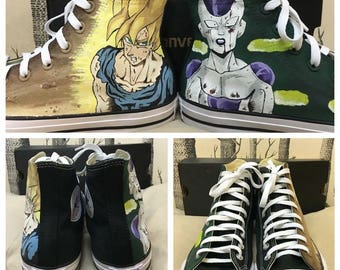 Custom Painted Dragonball Z Goku and Freeza Converse (Vans, Toms)