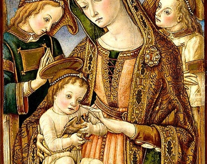 """Religious Christmas Card, 5""""x7"""" Card with Envelope, Madonna and Child with Two Angels, Vittore Crivelli, Virgin Mary and Baby Jesus,"""