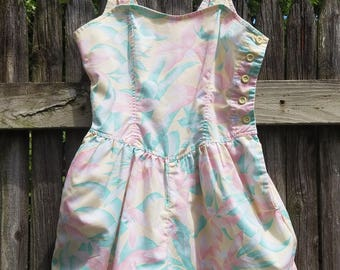 Adorable Vintage Pastel Floral Romper with Button Side Opening - XS/SM