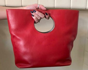 Kate Spade Red Leather Purse with Cutout Handle