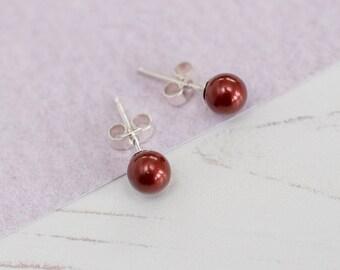 Red Stud Earrings, Red Bridesmaid Earrings, Red Earrings, Red Pearl Studs, Burgundy Wedding, Burgundy Wedding Accessories, Bordeaux Pearls