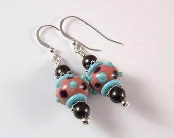 Brown & Blue Lampwork Earrings, Brown Swarovski Pearls, Brown Earrings, Blue Earrings, Lampwork Jewelry, Brown Pearl Earrings