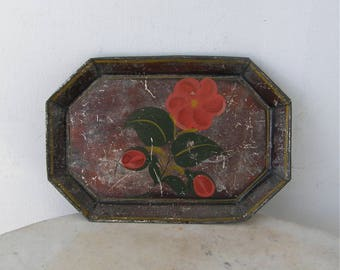 AMERICAN TOLEWARE TRAY 8 Sided Tole Tinware Red Flower Fruits Green & Yellow Leaves Black Background Rare American Primitive Folk Art 1800's