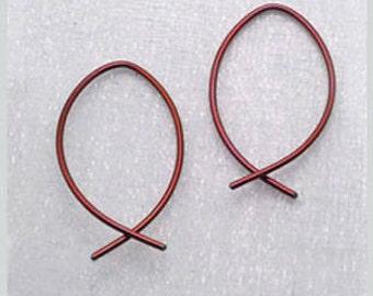 NIOBIUM EARRINGS. Niobium fish hoops. Niobium small hoops. Fish hoop earrings. Small niobium hoops. Modern niobium earrings. Choose color