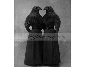 Black Crow Twin Sister Halloween Decor Collage Art 8x10 Inch Print, Gothic Halloween Wall Art