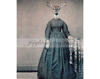 Anthropomorphic Deer in Dress Animal in Clothes Mixed Media Collage Art, 5x7 or 8x10 Print