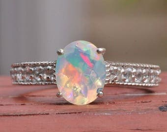 GENUINE Faceted Welo Opal Gemstone Ring,Solid Opal Sterling Silver Ring,Paved Band,October Birthstone,Ethiopian Opal Ring,Gift,Birthday