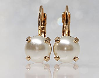 Pearl Bridal Earrings,Earrings With Pearls, Bridesmaids Gift, Pearl Tiny Earrings, Swarovski Pearl,Ivory Pearl Earrings,Dainty Pearl Earring
