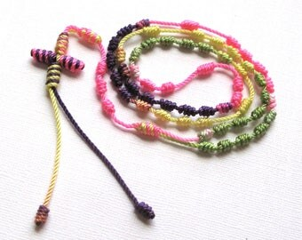 Knotted Rosary•Kid's Cord Rosary•Colorful Twine Rosary Necklace•Catholic Gift•Teen Rosary•Confirmation•First Communion•KN0023•OURLADYBeads