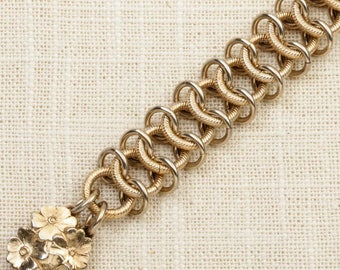 Vintage Bracelet Flower Charm Intricate Links Gold Chain Costume Jewelry 7J