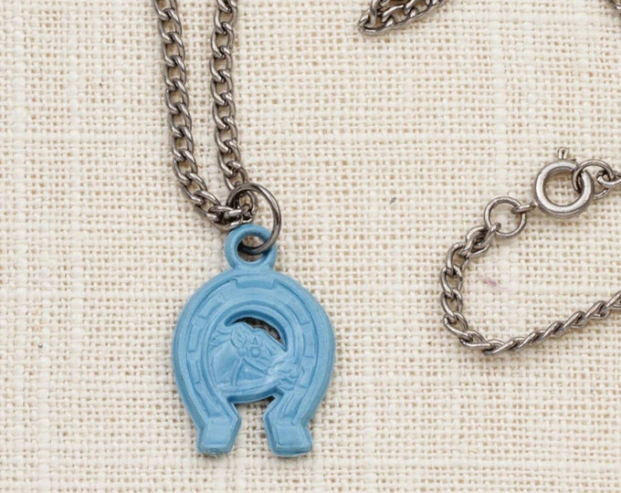 Blue Horseshoe Necklace Vintage Horse Silver Chain Plastic Charm Good Luck Costume Jewelry 7L