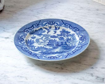 Antique Blue Willow Plate, Japan