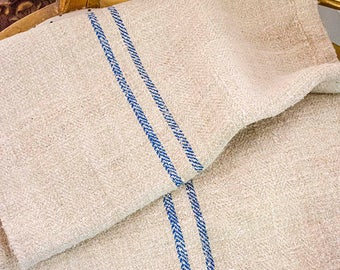 Antique Grain Sack, Blue Stripes, From Europe